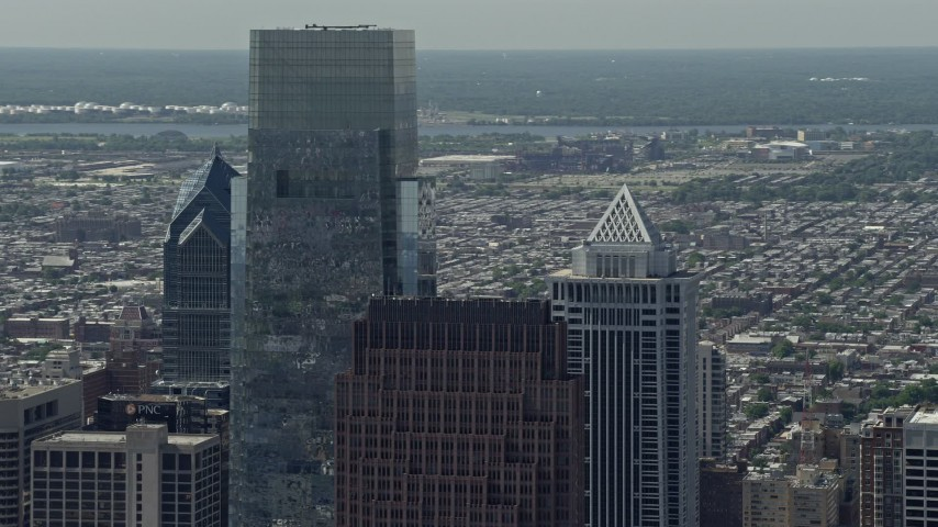 5K stock footage aerial video of rooftops of Downtown Philadelphia's tallest skyscrapers, Pennsylvania Aerial Stock Footage | AX82_010