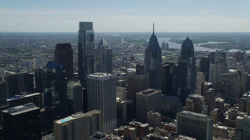 5K stock footage aerial video of Downtown Philadelphia giants skyscrapers and city buildings, Pennsylvania Aerial Stock Footage | AX82_012