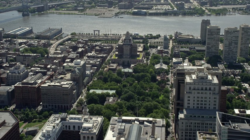 5K stock footage aerial video of the St James near Independence National Historic Park and Customs House, Downtown Philadelphia, Pennsylvania Aerial Stock Footage   AX82_014E