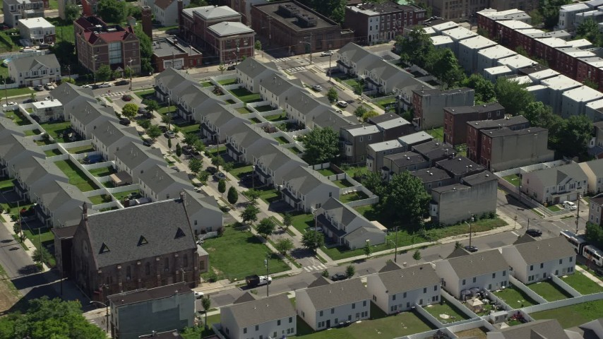 5K stock footage aerial video of neighborhood with town houses, North Philadelphia, Pennsylvania Aerial Stock Footage | AX82_023