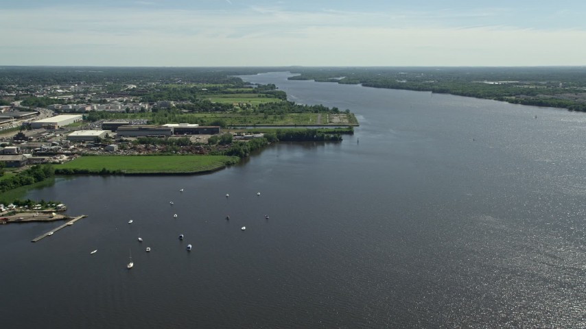 5K stock footage aerial video of boats in the Delaware River, Philadelphia, Pennsylvania Aerial Stock Footage | AX82_034