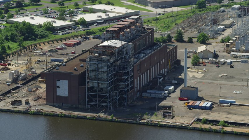 5K stock footage aerial video of the Burlington Generating Station power plant in Burlington, New Jersey Aerial Stock Footage AX82_047 | Axiom Images