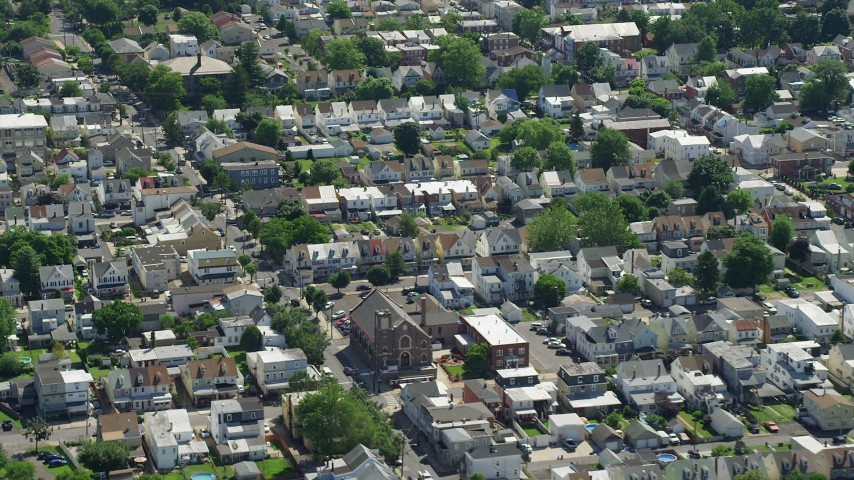 5K stock footage aerial video of row houses and homes in Bristol, Pennsylvania Aerial Stock Footage | AX82_049