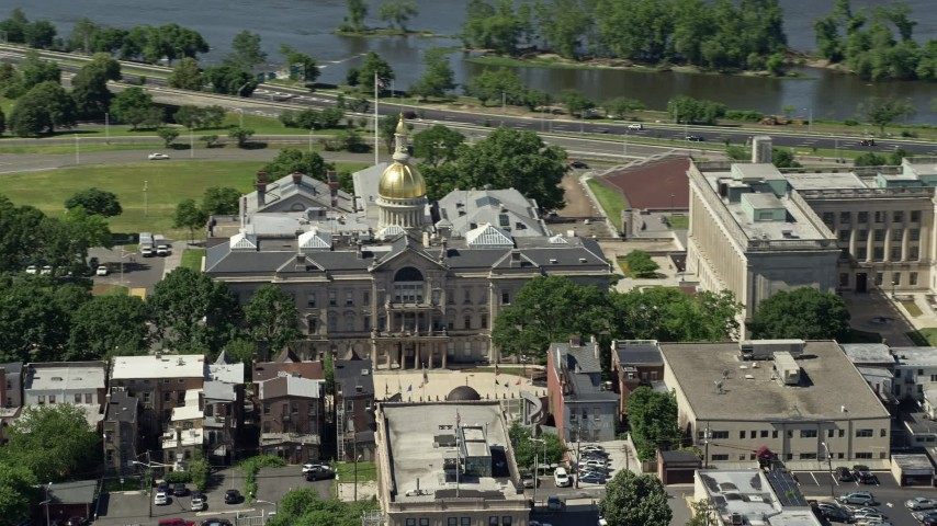 5K stock footage aerial video of New Jersey State House in Trenton, New Jersey Aerial Stock Footage | AX82_065