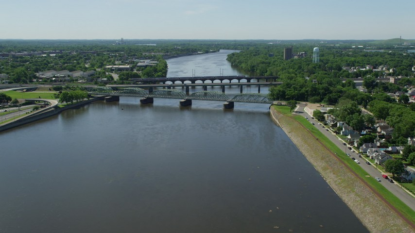 5K stock footage aerial video approaching bridges spanning the Delaware River, Trenton, New Jersey Aerial Stock Footage | AX82_067