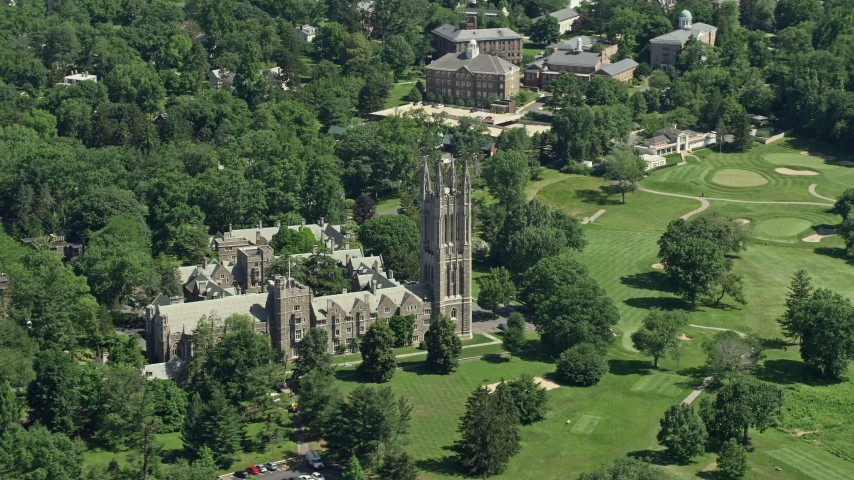 5K aerial video of Princeton Graduate College at Princeton University, New Jersey Aerial Stock Footage | AX82_091
