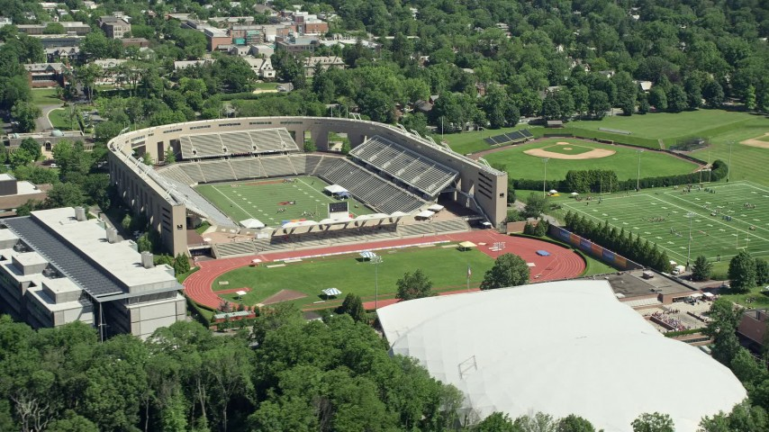 5K aerial video of Princeton University Stadium and Weaver Stadium, New Jersey Aerial Stock Footage | AX82_093
