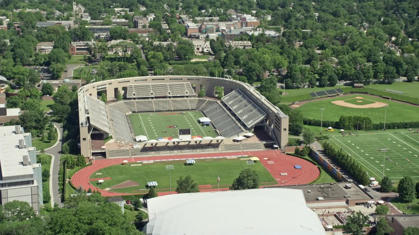 5K stock footage aerial video of Princeton University Stadium and Weaver Stadium, New Jersey Aerial Stock Footage | AX82_093