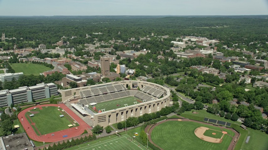 5K aerial video of Weaver Stadium, Princeton University Stadium, and campus buildings, New Jersey Aerial Stock Footage | AX82_094