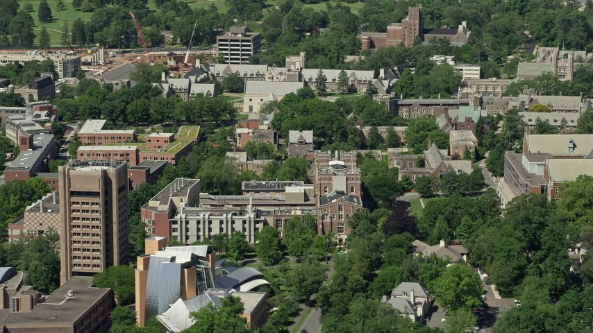5K stock footage aerial video of Princeton University campus buildings, New Jersey Aerial Stock Footage | AX82_095