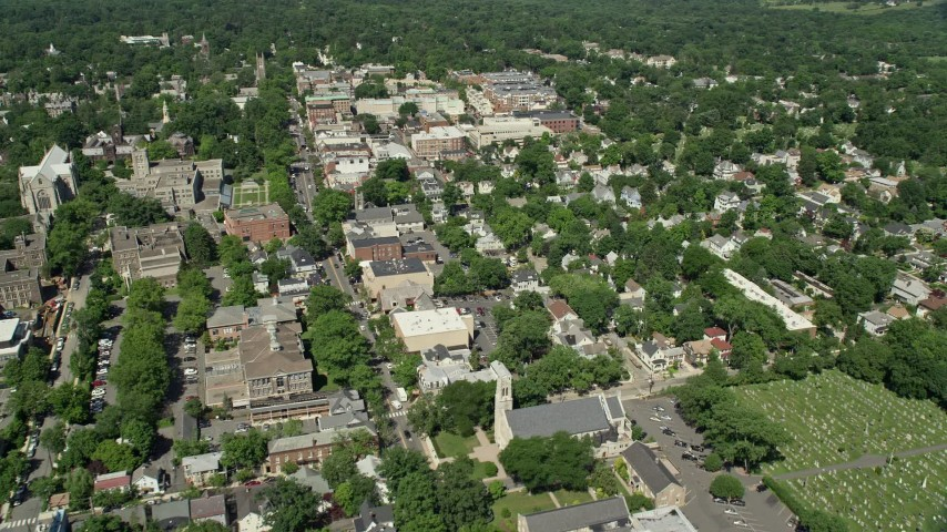 5k Stock Footage Aerial Video Flying Over Homes To Approach Shops And Restaurants In Princeton New Jersey