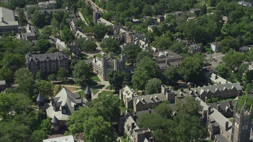 5K stock footage aerial video flying by Mathey College at Princeton University, New Jersey Aerial Stock Footage | AX82_097