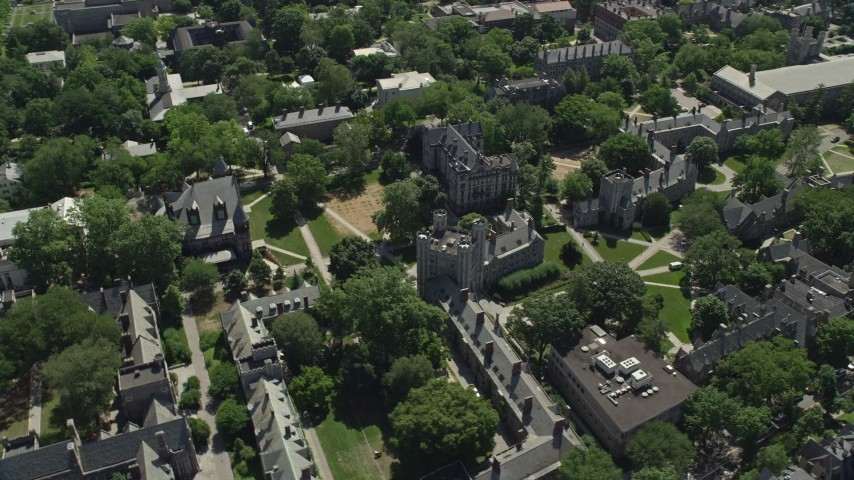 5K stock footage aerial video of a reverse view of Mathey College and Princeton University campus, New Jersey Aerial Stock Footage | AX82_098