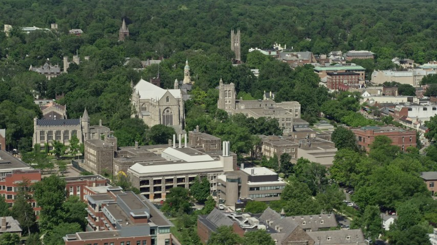 5K stock footage aerial video of Princeton University Chapel and the Firestone Library in New Jersey Aerial Stock Footage | AX82_103