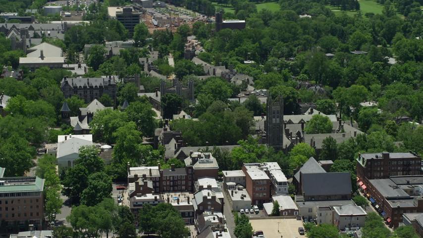 5K stock footage aerial video of Rockefeller College at Princeton University, New Jersey Aerial Stock Footage | AX83_015
