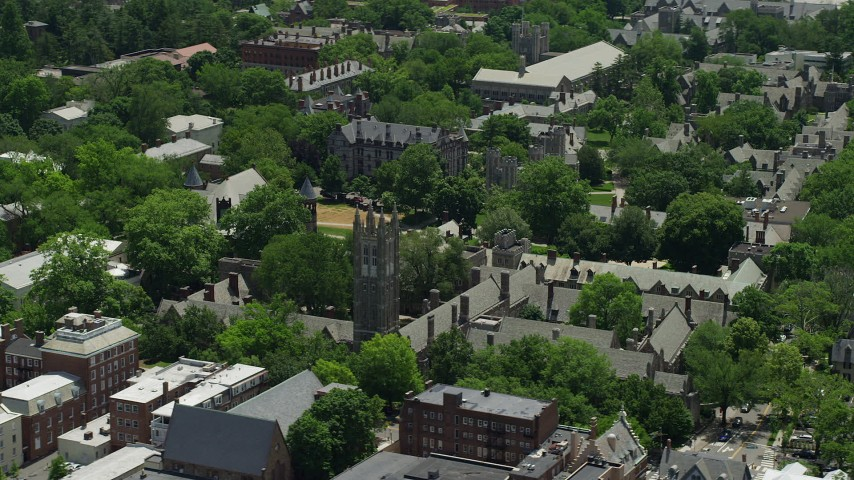 5K stock footage aerial video flying by Rockefeller College and Mathay College at Princeton University, New Jersey Aerial Stock Footage | AX83_016