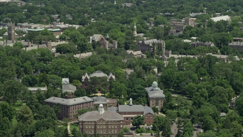 5K aerial video flying by the Princeton University campus, New Jersey Aerial Stock Footage | AX83_019
