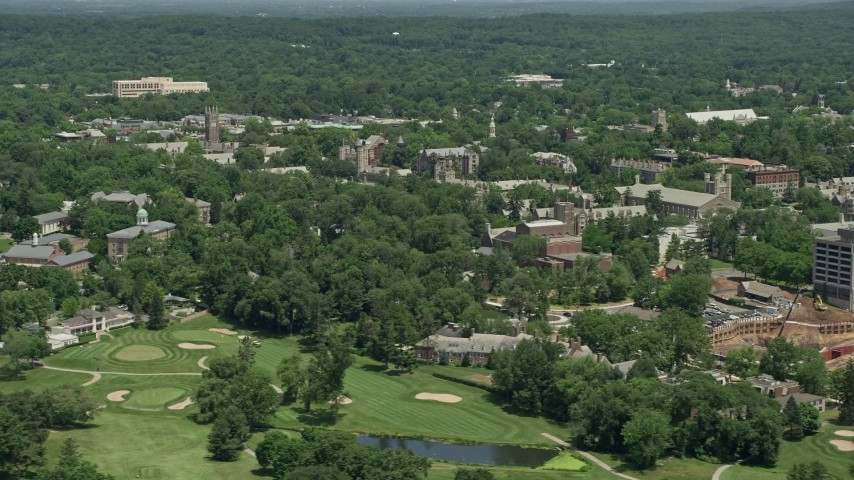 5K aerial video flying by the campus of Princeton University, New Jersey Aerial Stock Footage | AX83_020