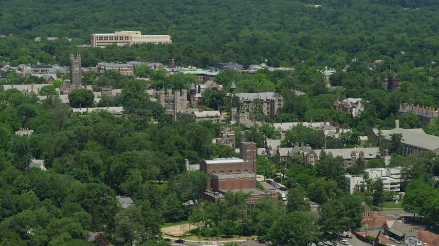 5K stock footage aerial video of campus buildings at Princeton University, New Jersey Aerial Stock Footage | AX83_021