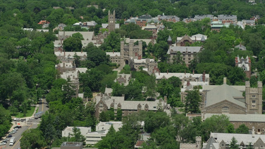 5K aerial video of Mathey College and Blair Arch at Princeton University, New Jersey Aerial Stock Footage AX83_022