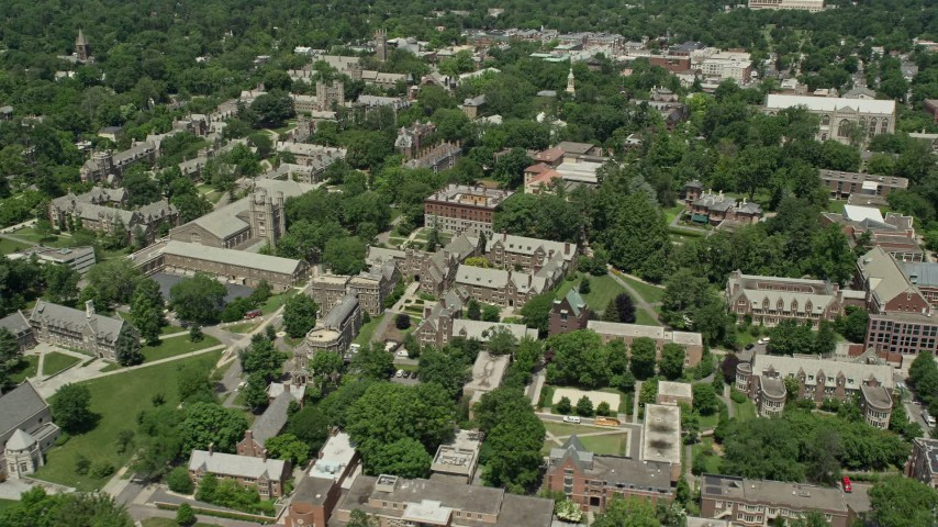 5K stock footage aerial video flying by buildings at the Princeton University campus, New Jersey Aerial Stock Footage | AX83_023
