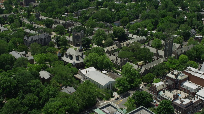 5K stock footage aerial video of campus halls, Mathey College, and Rockefeller College at Princeton University, New Jersey Aerial Stock Footage | AX83_025