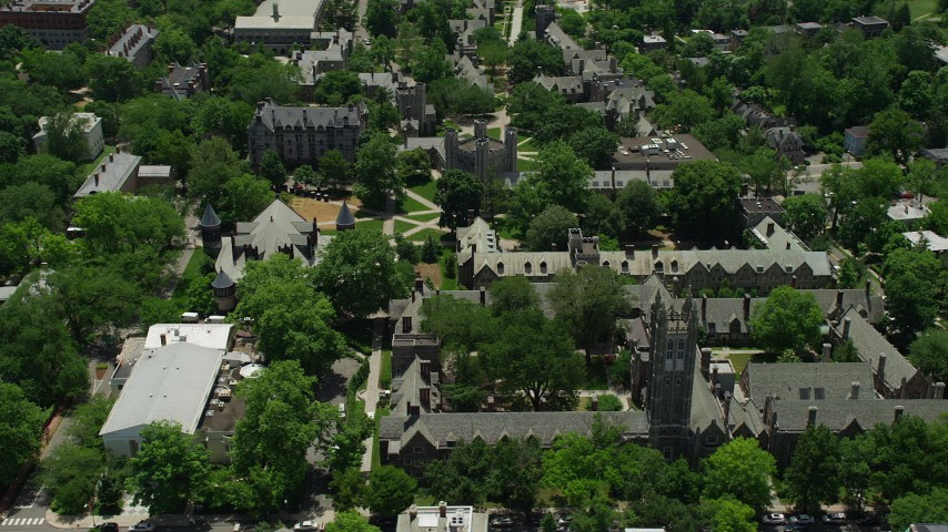 5K stock footage aerial video flying by the Rockefeller and Mathey colleges on the Princeton University campus, New Jersey Aerial Stock Footage | AX83_026