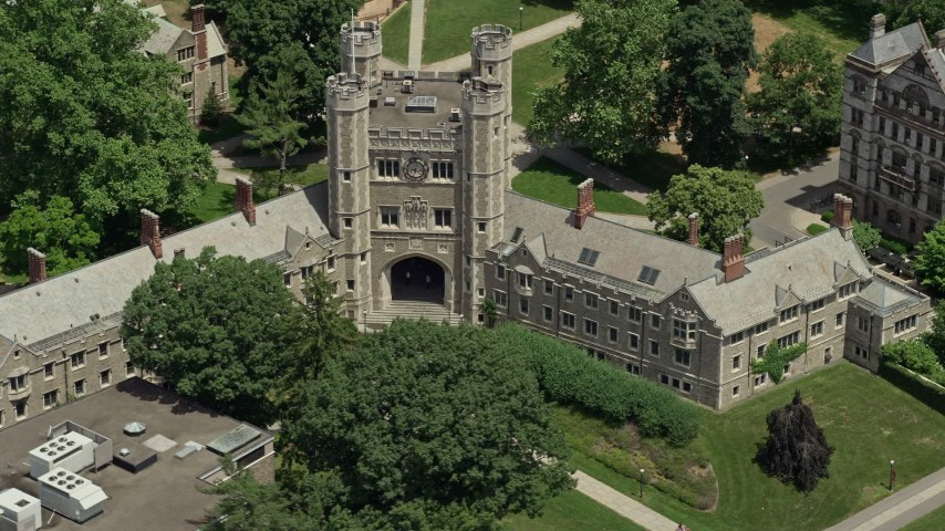5K stock footage aerial video of the Blair Arch at Mathey College, Princeton University, New Jersey Aerial Stock Footage | AX83_027