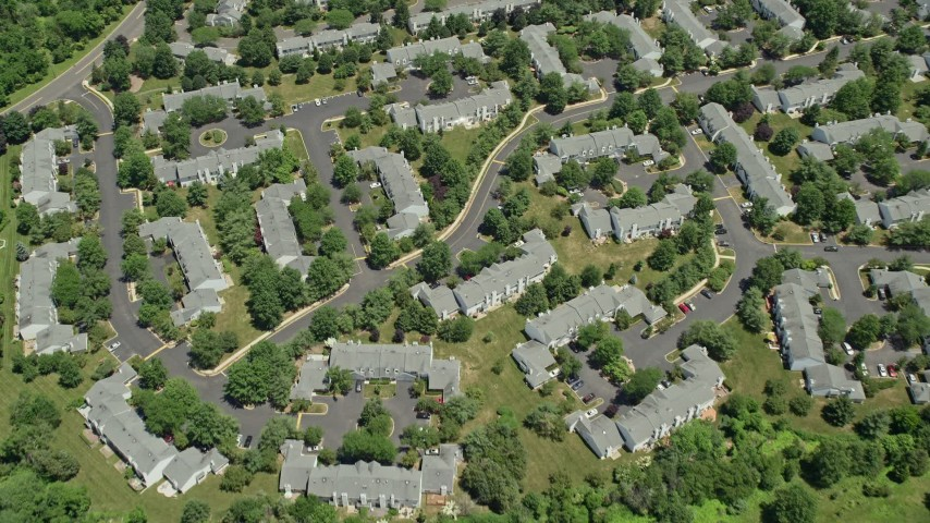 5K stock footage aerial video of a bird's eye view of apartment buildings in Somerset, New Jersey Aerial Stock Footage | AX83_046