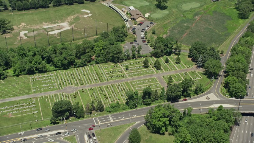 5K aerial video of Beth-David Cemetery in Kenilworth, New Jersey Aerial Stock Footage | AX83_070