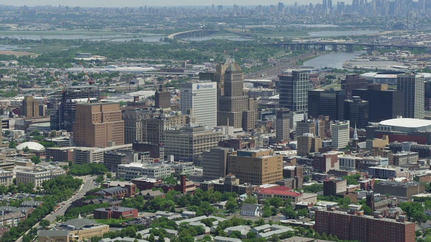 5K stock footage aerial video of Downtown Newark high-rises and skyscrapers, New Jersey Aerial Stock Footage | AX83_078