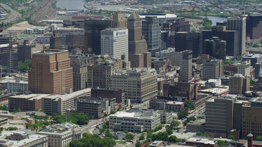 5K stock footage aerial video of high-rise buildings in the center of Downtown Newark, New Jersey Aerial Stock Footage | AX83_079