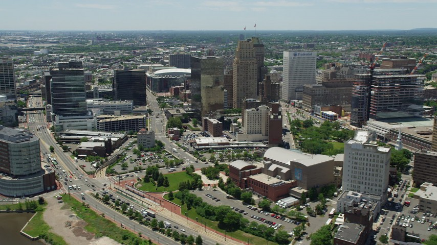 5K stock footage aerial video of Downtown Newark high-rises and the New Jersey Performing Arts Center Aerial Stock Footage   AX83_083