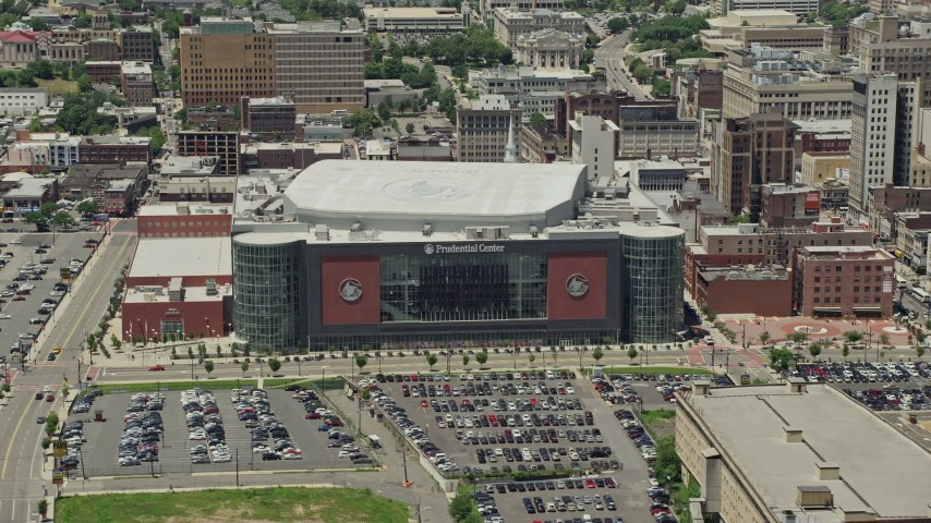 5K stock footage aerial video of Prudential Center arena in Downtown Newark, New Jeresy Aerial Stock Footage | AX83_086