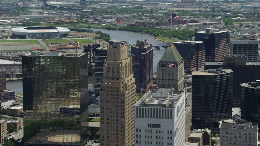5K stock footage aerial video flying by Downtown Newark's tallest high-rises in New Jersey Aerial Stock Footage | AX83_090