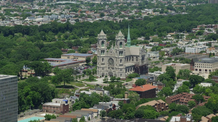 5K stock footage aerial video of Cathedral Basilica of the Sacred Heart in Newark, New Jersey Aerial Stock Footage | AX83_091