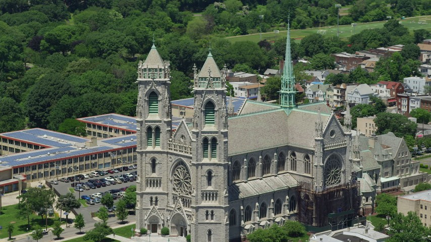 5K stock footage aerial video flying by the Cathedral Basilica of the Sacred Heart, Newark, New Jersey Aerial Stock Footage AX83_092 | Axiom Images