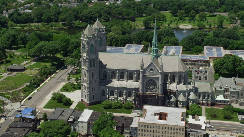5K stock footage aerial video orbiting Cathedral Basilica of the Sacred Heart in Newark, New Jersey Aerial Stock Footage | AX83_093