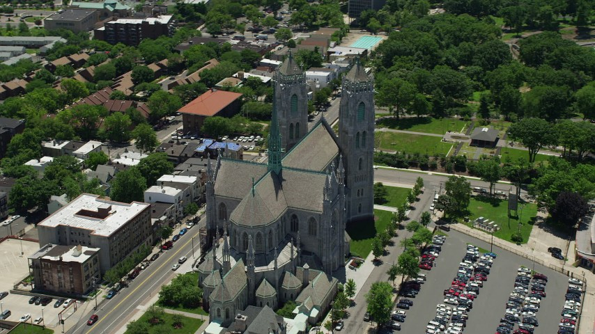 5K stock footage aerial video orbiting Cathedral Basilica of the Sacred Heart, Newark, New Jersey Aerial Stock Footage | AX83_094
