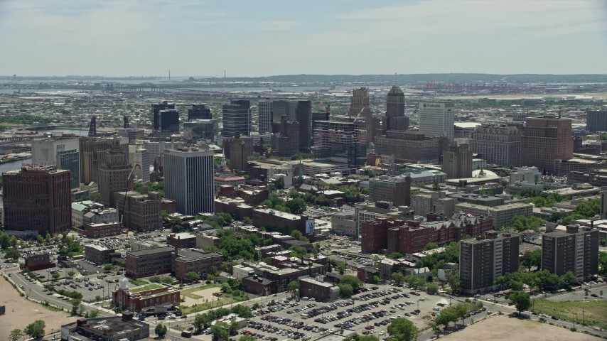 5K stock footage aerial video flying by high-rises in Downtown Newark, New Jersey Aerial Stock Footage | AX83_096
