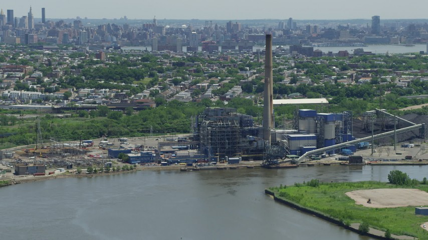 5K stock footage aerial video of Hudson Generating Station in Jersey City, New Jersey Aerial Stock Footage | AX83_103