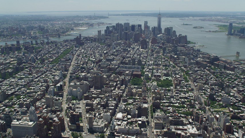5K stock footage aerial video approaching Lower Manhattan from Midtown, New York City Aerial Stock Footage | AX83_124