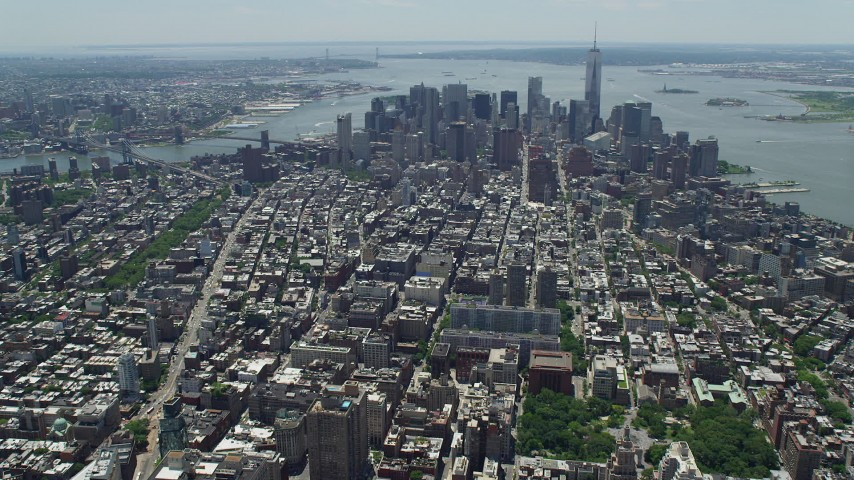 5K stock footage aerial video of a view of Lower Manhattan skyscrapers and high-rises, New York City Aerial Stock Footage | AX83_125