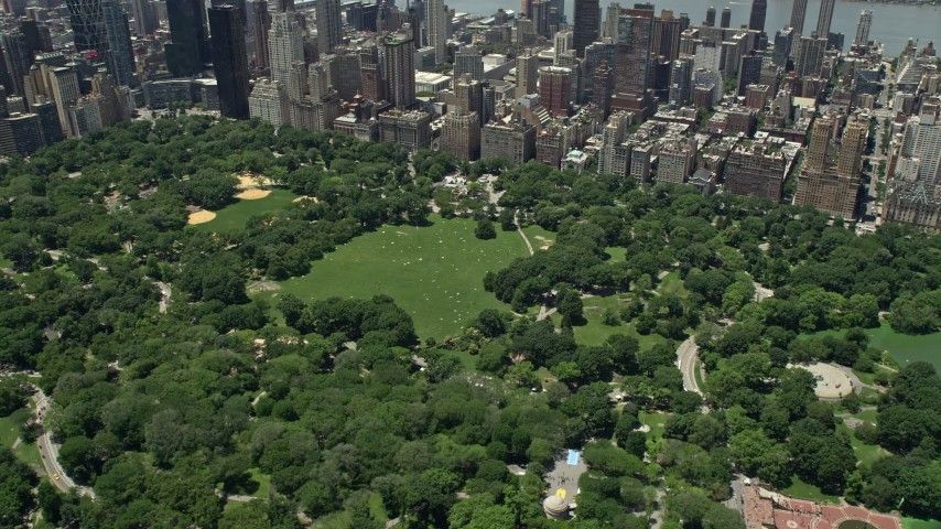 5K stock footage aerial video of Sheep Meadow in Central Park with trees, New York City Aerial Stock Footage | AX83_134