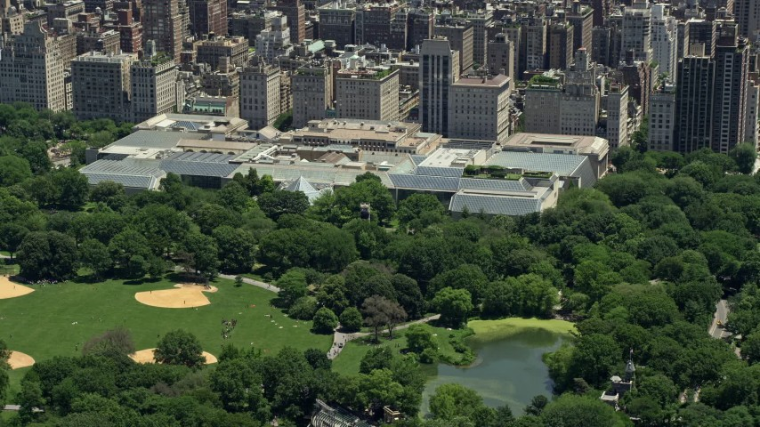 5K stock footage aerial video of the Metropolitan Museum of Art in New York City Aerial Stock Footage | AX83_138