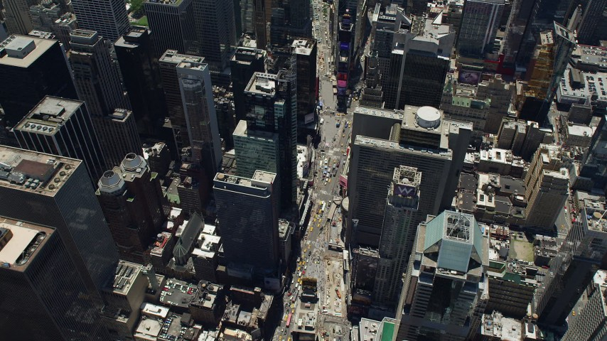 5K stock footage aerial video of a bird's eye view of Times Square in Midtown Manhattan, New York City Aerial Stock Footage | AX83_143