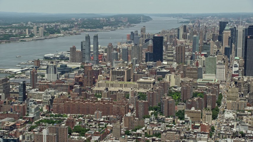 5k aerial video of hells kitchen skyscrapers by the hudson river midtown manhattan new york city - Hells Kitchen Manhattan