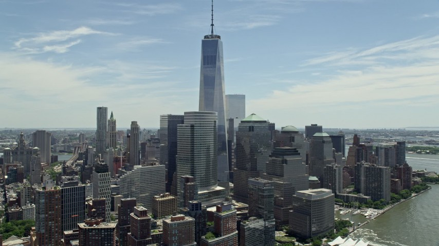 5K stock footage aerial video of Freedom Tower and World Trade Center buildings, Lower Manhattan, New York City Aerial Stock Footage | AX83_157E