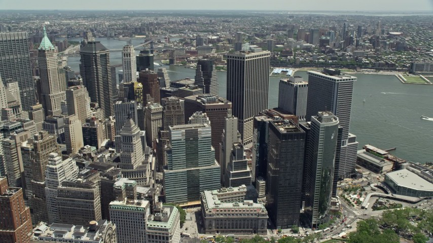 5K stock footage aerial video tilting to skyscrapers in Lower Manhattan, New York City Aerial Stock Footage | AX83_161