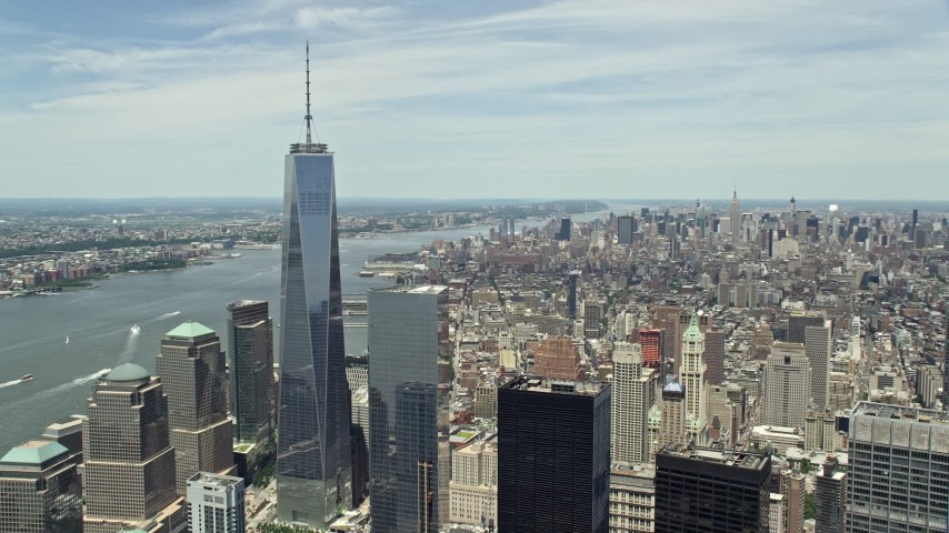 5K aerial video of One World Trade Center and the Hudson River in Lower Manhattan, New York City Aerial Stock Footage | AX83_162